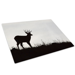 Black Deer Silhouette Glass Chopping Board Kitchen Worktop Saver Protector - A218