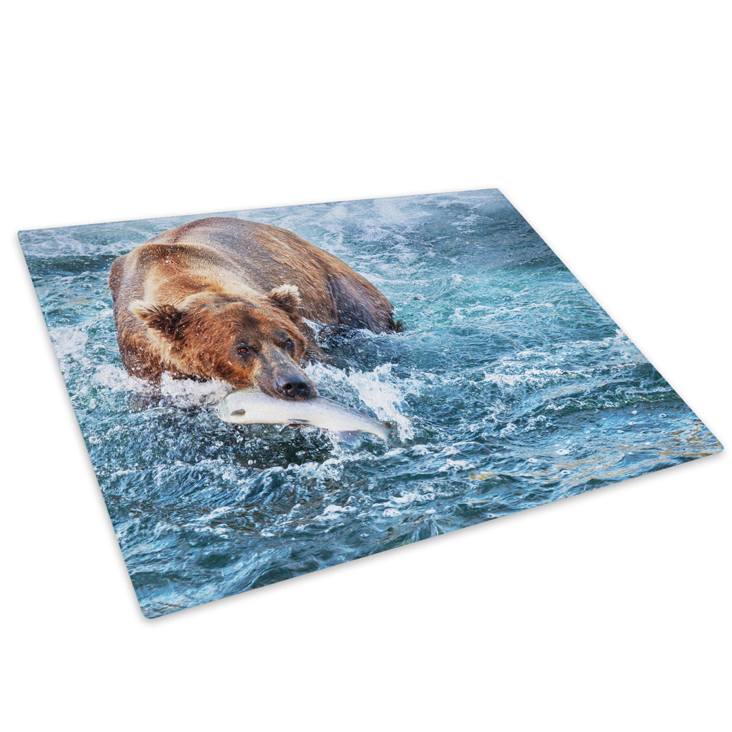 Blue Water Brown Bear Glass Chopping Board Kitchen Worktop Saver Protector - A219-Animal Chopping Board-WhatsOnYourWall