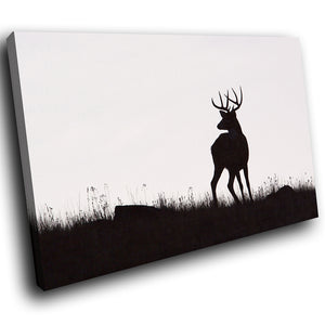A220 Framed Canvas Print Colourful Modern Animal Wall Art - Black Deer Stag Silhouette-Canvas Print-WhatsOnYourWall