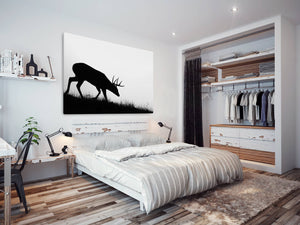 A221 Framed Canvas Print Colourful Modern Animal Wall Art - Black Deer Stag Silhouette-Canvas Print-WhatsOnYourWall