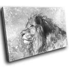 A222 Framed Canvas Print Colourful Modern Animal Wall Art - Grey Sketch Lion Profile-Canvas Print-WhatsOnYourWall