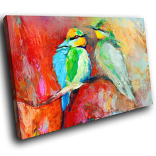 A223 Framed Canvas Print Colourful Modern Animal Wall Art - Blue Red Impressionist Birds-Canvas Print-WhatsOnYourWall