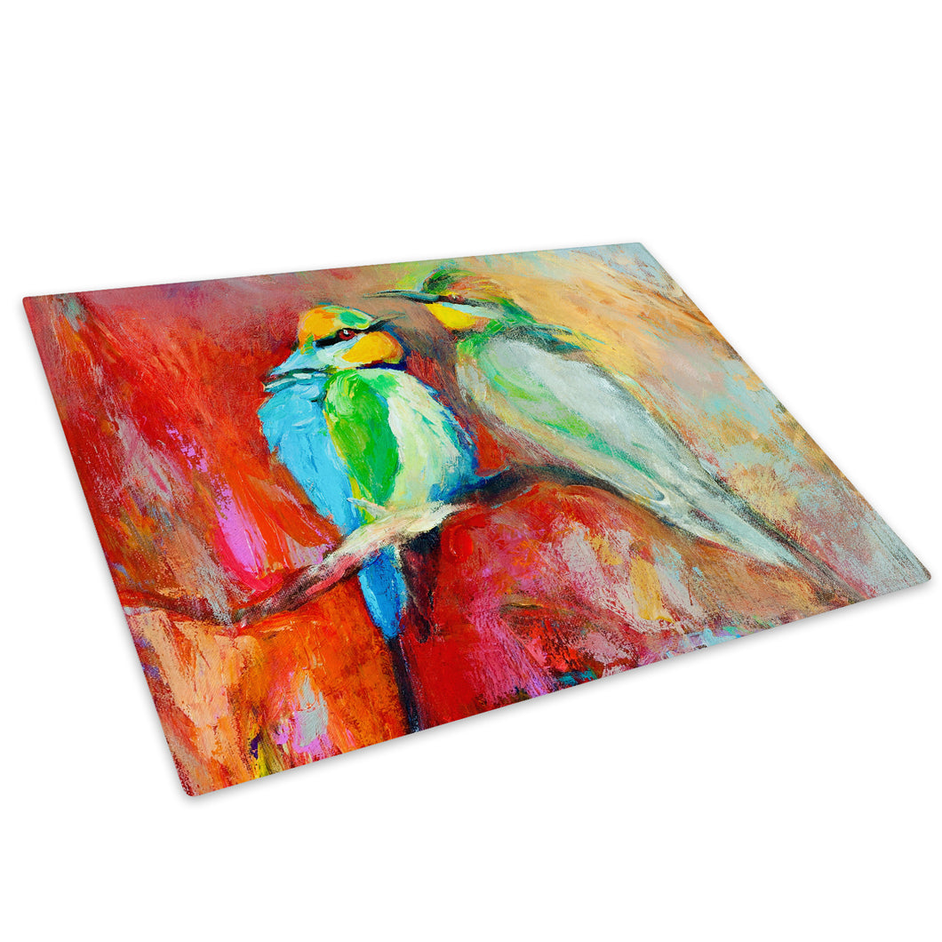 Blue Red Birds Abstract Glass Chopping Board Kitchen Worktop Saver Protector - A223-Animal Chopping Board-WhatsOnYourWall