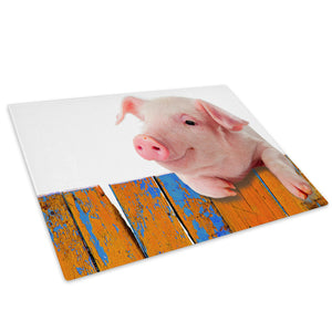 Pink Pig Orange Blue Cool Glass Chopping Board Kitchen Worktop Saver Protector - A225-Animal Chopping Board-WhatsOnYourWall