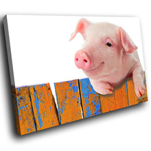 A225 Framed Canvas Print Colourful Modern Animal Wall Art - Pink Pig Leaning Fence Cute-Canvas Print-WhatsOnYourWall