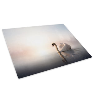 White Pink Swan Lake Mist Glass Chopping Board Kitchen Worktop Saver Protector - A227-Animal Chopping Board-WhatsOnYourWall