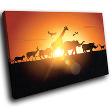 A230 Framed Canvas Print Colourful Modern Animal Wall Art - African Sunset Silhouette-Canvas Print-WhatsOnYourWall