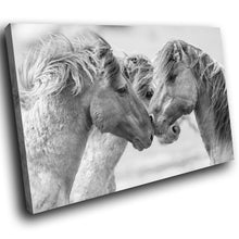 A231 Framed Canvas Print Colourful Modern Animal Wall Art - Grey Horses Majestic Photo-Canvas Print-WhatsOnYourWall