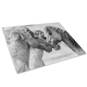 Grey Horses Black White Glass Chopping Board Kitchen Worktop Saver Protector - A231