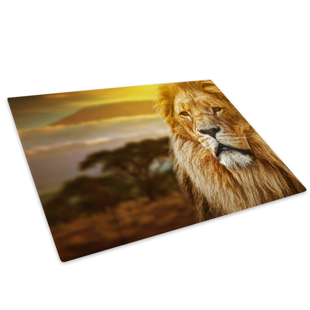 Yellow Lion Africa Sunset Glass Chopping Board Kitchen Worktop Saver Protector - A232