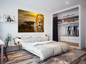 A232 Framed Canvas Print Colourful Modern Animal Wall Art - Yellow Stoic Lion Africa Plains-Canvas Print-WhatsOnYourWall