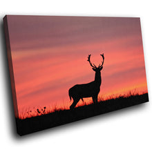 A233 Framed Canvas Print Colourful Modern Animal Wall Art - Pink Purple Silhouette Stag-Canvas Print-WhatsOnYourWall