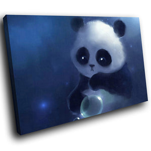 A236 Framed Canvas Print Colourful Modern Animal Wall Art - Blue Adorable Panda Cub Bubbles-Canvas Print-WhatsOnYourWall