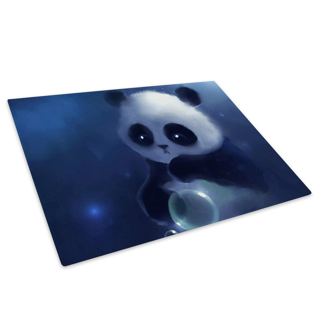 Blue Panda Graphic Black Glass Chopping Board Kitchen Worktop Saver Protector - A236-Animal Chopping Board-WhatsOnYourWall