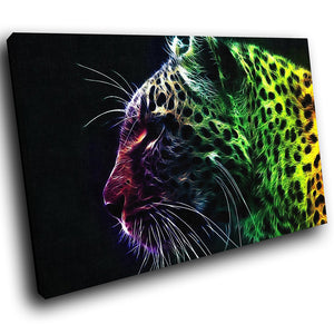 A237 Framed Canvas Print Colourful Modern Animal Wall Art - Wild Neon Rainbow Color Leopard-Canvas Print-WhatsOnYourWall