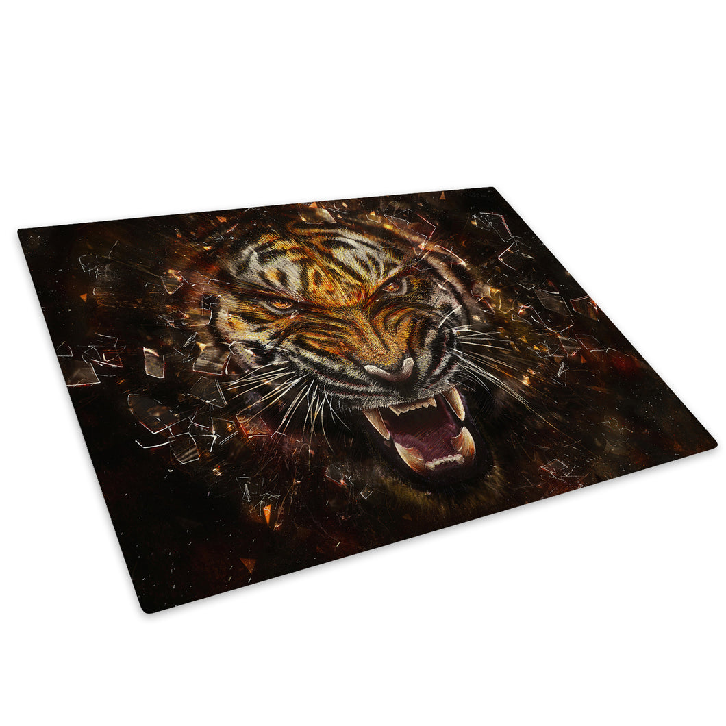Tiger Orange Red Black Glass Chopping Board Kitchen Worktop Saver Protector - A238-Animal Chopping Board-WhatsOnYourWall