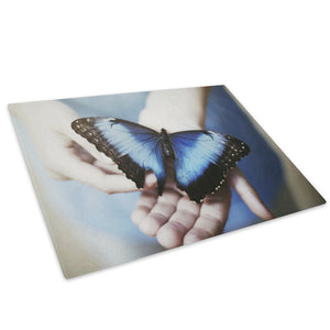 Blue Butterfly Black Hand Glass Chopping Board Kitchen Worktop Saver Protector - A253-Animal Chopping Board-WhatsOnYourWall