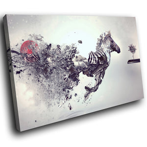 A254 Framed Canvas Print Colourful Modern Animal Wall Art - Disintegrating Metalic Zebra-Canvas Print-WhatsOnYourWall
