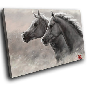 A255 Framed Canvas Print Colourful Modern Animal Wall Art - Two Grey Majestic Stallions-Canvas Print-WhatsOnYourWall