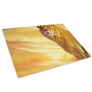 Africa Lion Yellow Orange Glass Chopping Board Kitchen Worktop Saver Protector - A257