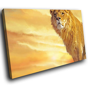 A257 Framed Canvas Print Colourful Modern Animal Wall Art - African Lion Golden Mane Clouds-Canvas Print-WhatsOnYourWall