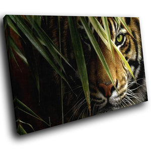 A260 Framed Canvas Print Colourful Modern Animal Wall Art - Hidden In Grass Bengal Tiger-Canvas Print-WhatsOnYourWall