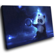 A261 Framed Canvas Print Colourful Modern Animal Wall Art -  Panda Cub Playing Bubbles Blue - WhatsOnYourWall