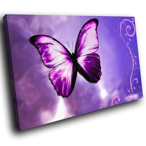 A262 Framed Canvas Print Colourful Modern Animal Wall Art - Neon Pink Purple Butterfly-Canvas Print-WhatsOnYourWall