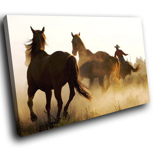 A267 Framed Canvas Print Colourful Modern Animal Wall Art - Wild Stallions Cowboy Ranchers-Canvas Print-WhatsOnYourWall