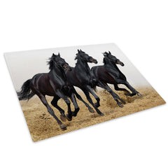 Black Horses Gallop Herd Glass Chopping Board Kitchen Worktop Saver Protector - A270-Animal Chopping Board-WhatsOnYourWall