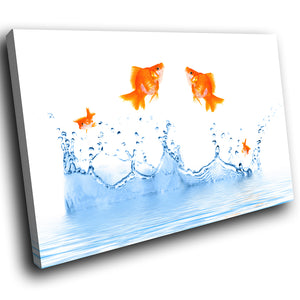 A276 Framed Canvas Print Colourful Modern Animal Wall Art - Nimble Goldfish Water Leap-Canvas Print-WhatsOnYourWall