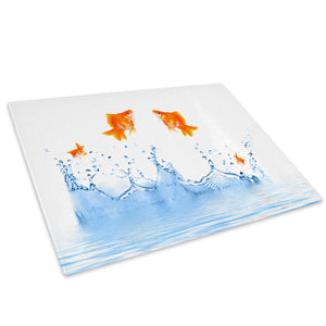 Goldfish Water Orange Glass Chopping Board Kitchen Worktop Saver Protector - A276-Animal Chopping Board-WhatsOnYourWall