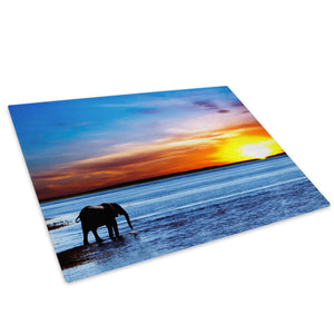 Africa Elephant Sea Sunset Glass Chopping Board Kitchen Worktop Saver Protector - A284-Animal Chopping Board-WhatsOnYourWall