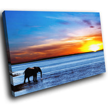 A284 Framed Canvas Print Colourful Modern Animal Wall Art - African Elephant Ocean Sunrise-Canvas Print-WhatsOnYourWall