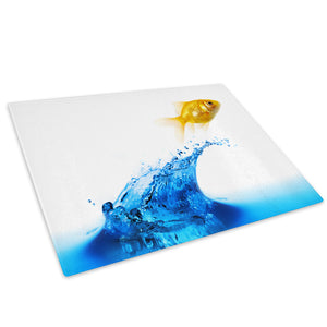 Goldfish Water Blue Yellow Glass Chopping Board Kitchen Worktop Saver Protector - A286-Animal Chopping Board-WhatsOnYourWall