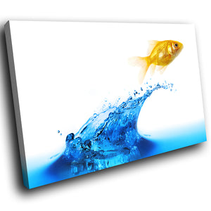 A286 Framed Canvas Print Colourful Modern Animal Wall Art - Goldfish Leaping From Water-Canvas Print-WhatsOnYourWall