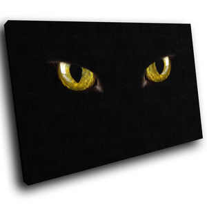 A290 Framed Canvas Print Colourful Modern Animal Wall Art - Black Shadow Golden Cat Eyes-Canvas Print-WhatsOnYourWall
