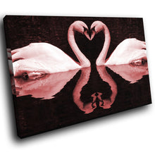 A292 Framed Canvas Print Colourful Modern Animal Wall Art - Two Pink Swans Love Heart Water-Canvas Print-WhatsOnYourWall