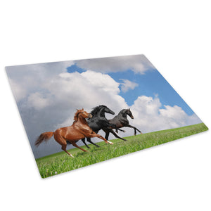 Horses Gallop Green Blue Glass Chopping Board Kitchen Worktop Saver Protector - A297