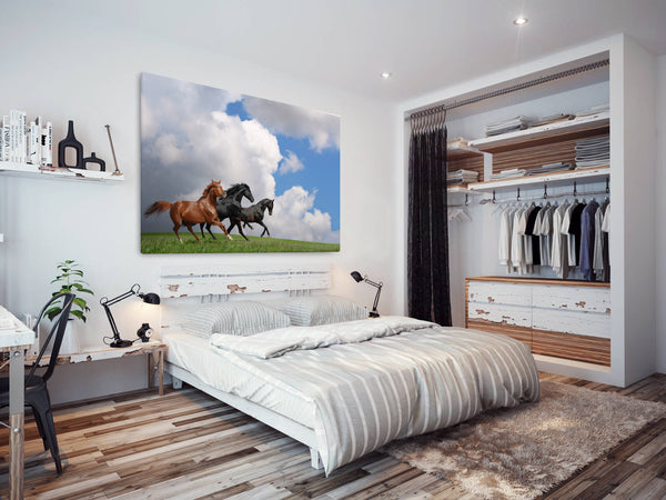 A297 Framed Canvas Print Colourful Modern Animal Wall Art - Three Stallions Galloping Cloud-Canvas Print-WhatsOnYourWall