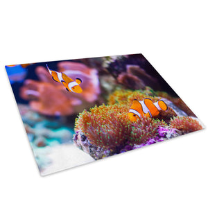 Clown Fish Sea Coral Reef Glass Chopping Board Kitchen Worktop Saver Protector - A298