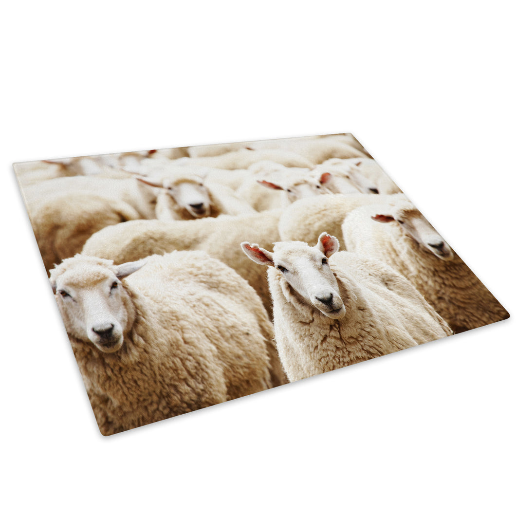 Farm Animal Herd Sheep Glass Chopping Board Kitchen Worktop Saver Protector - A300-Animal Chopping Board-WhatsOnYourWall
