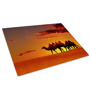 Desert Camel Sunset Orange Glass Chopping Board Kitchen Worktop Saver Protector - A302-Animal Chopping Board-WhatsOnYourWall