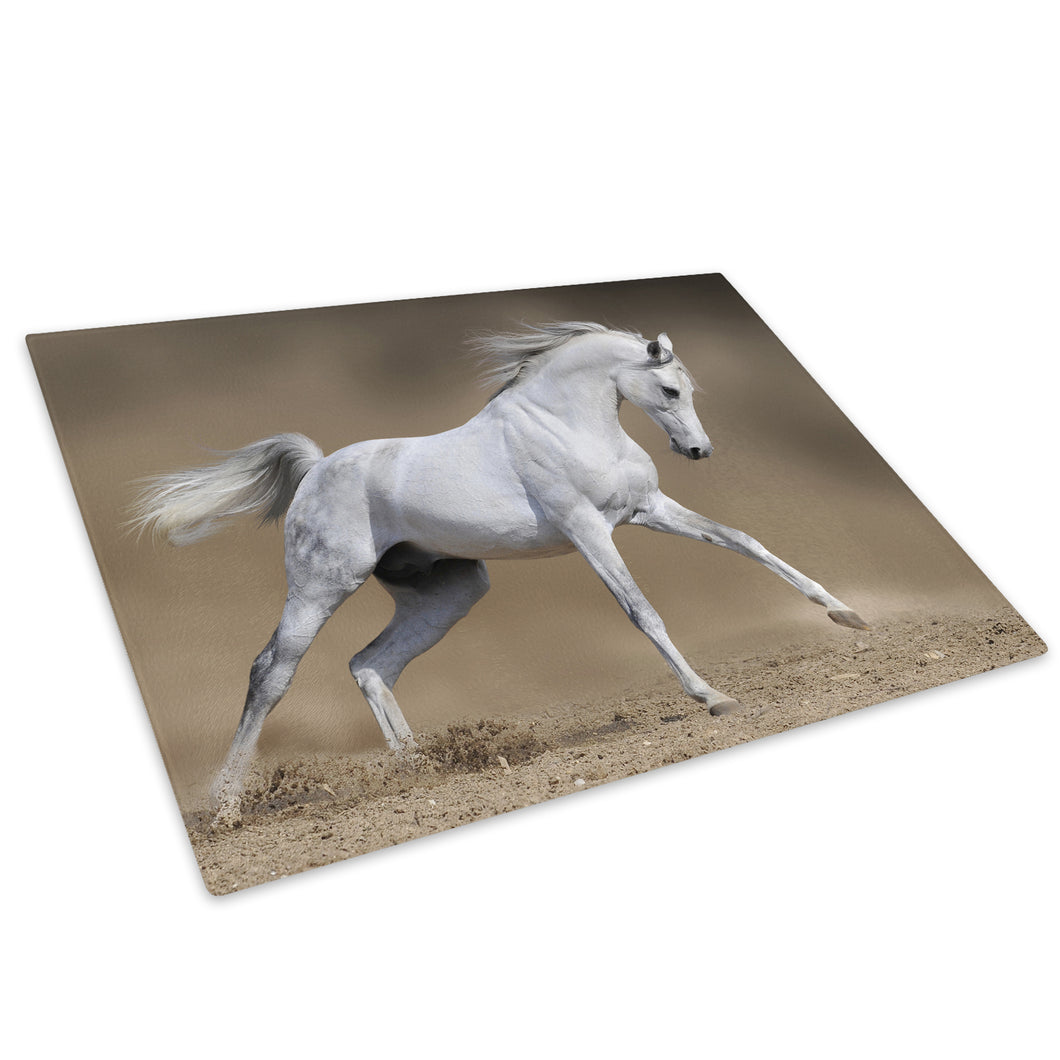 White Horse Gallop Brown Glass Chopping Board Kitchen Worktop Saver Protector - A304-Animal Chopping Board-WhatsOnYourWall