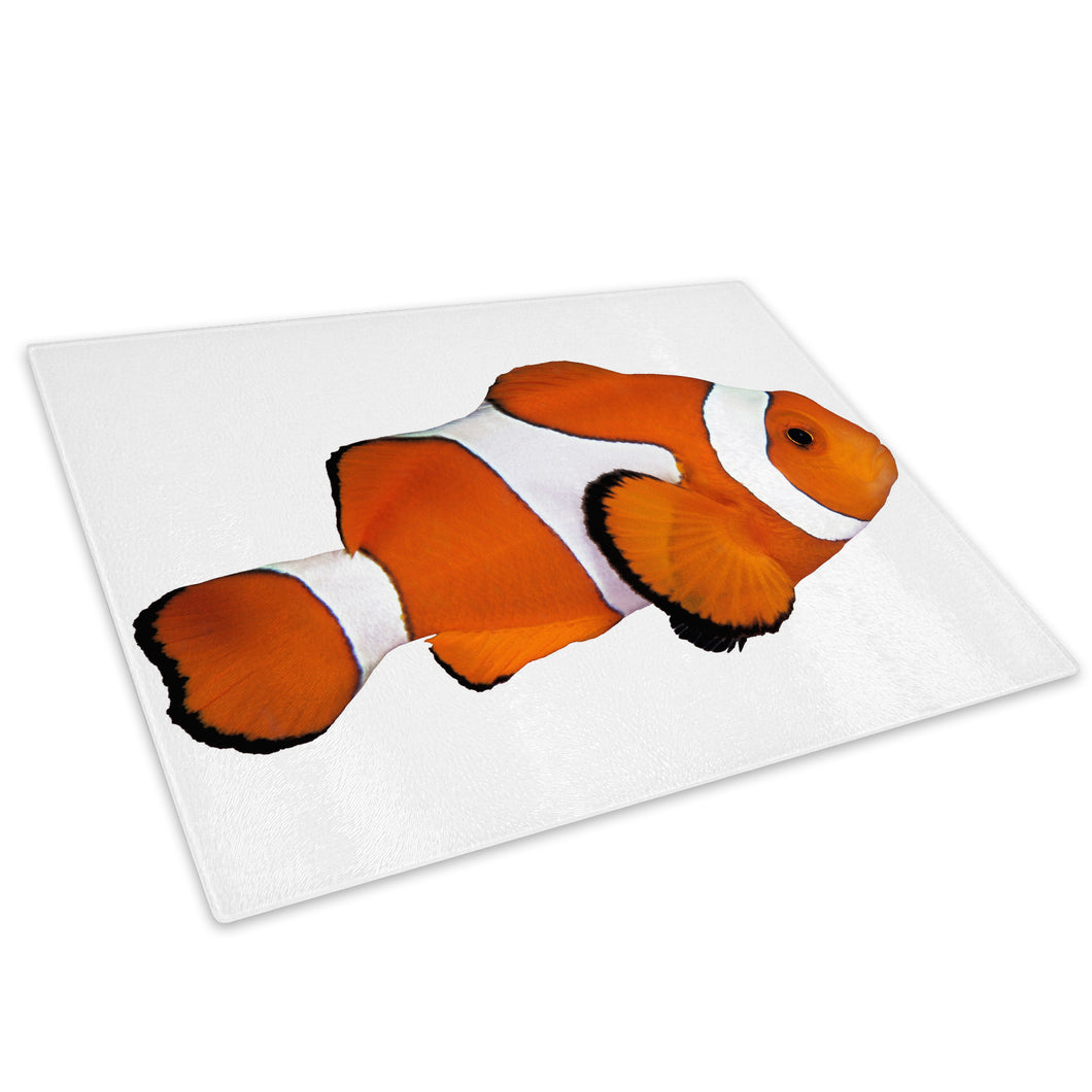 Clownfish Orange White Glass Chopping Board Kitchen Worktop Saver Protector - A309-Animal Chopping Board-WhatsOnYourWall