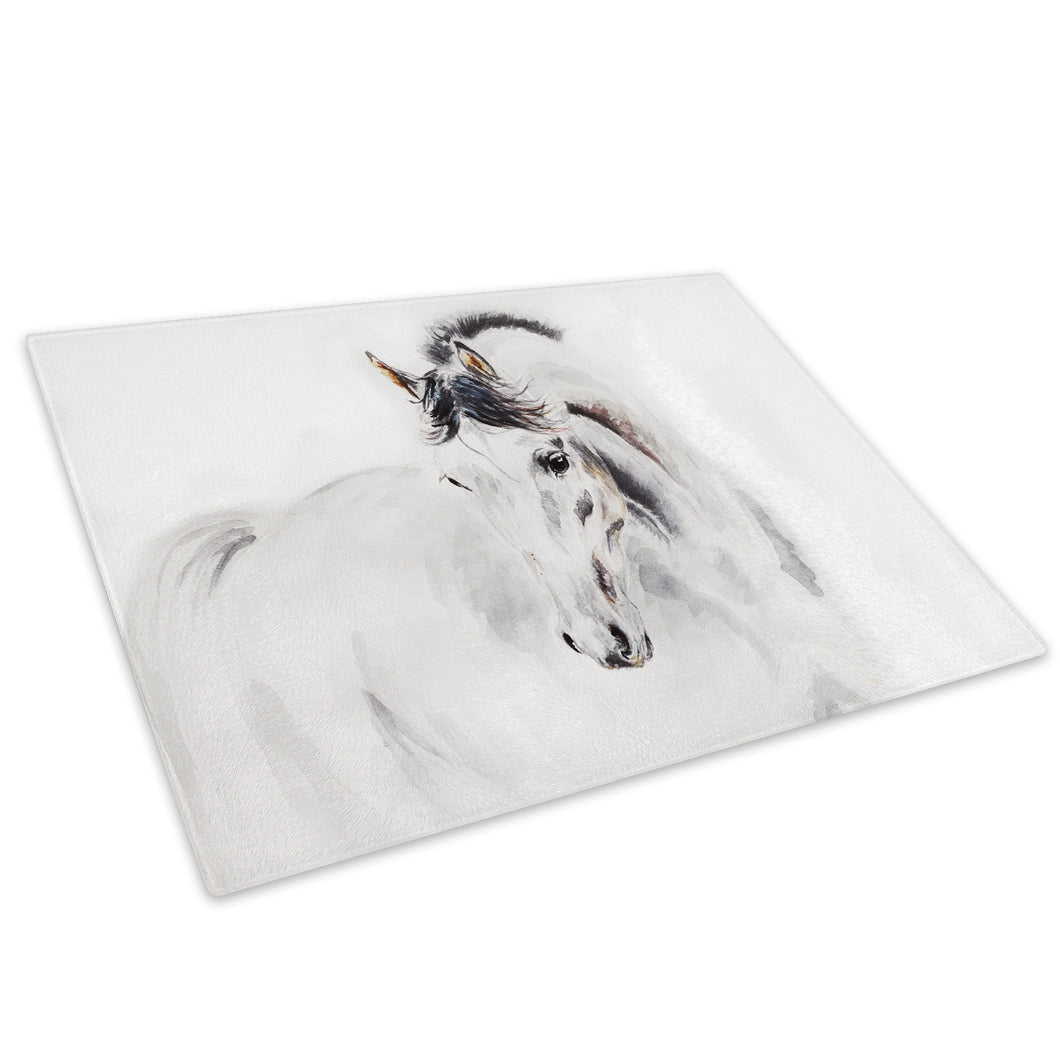 White Grey Horse Black Glass Chopping Board Kitchen Worktop Saver Protector - A312-Animal Chopping Board-WhatsOnYourWall