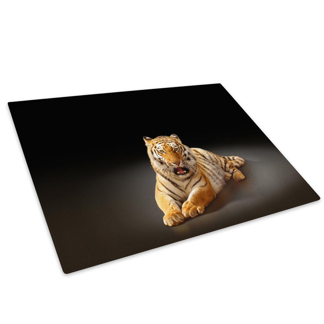 Tiger Orange Black White Glass Chopping Board Kitchen Worktop Saver Protector - A313-Animal Chopping Board-WhatsOnYourWall