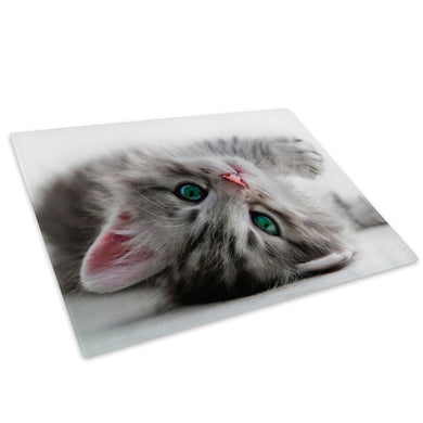 Kitten Grey Green White Glass Chopping Board Kitchen Worktop Saver Protector - A314-Animal Chopping Board-WhatsOnYourWall