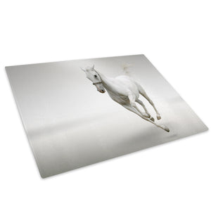 White Horse Gallop Grey Glass Chopping Board Kitchen Worktop Saver Protector - A315-Animal Chopping Board-WhatsOnYourWall