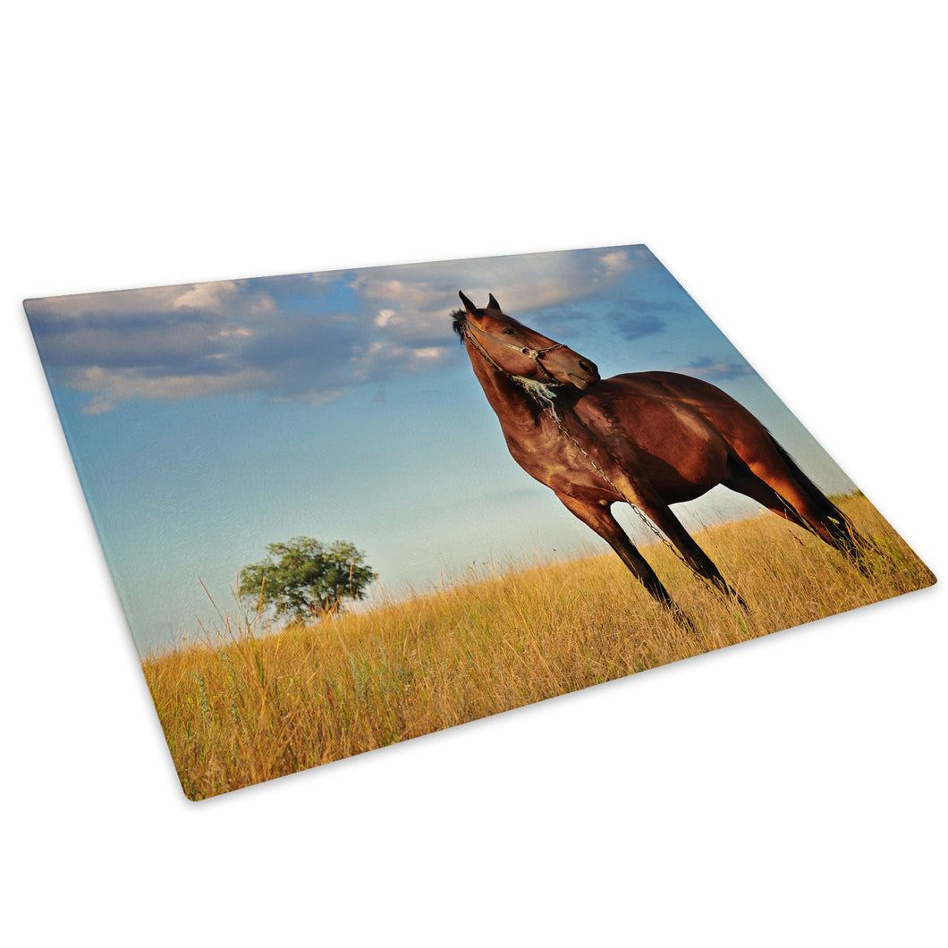 Brown Horse Tree Blue Glass Chopping Board Kitchen Worktop Saver Protector - A319-Animal Chopping Board-WhatsOnYourWall